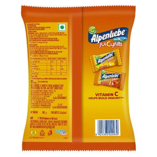 Alpenliebe Juicy Fills, Orange & Mango Flavour, Assorted Candy Pouch, 174.8g, 46 pc
