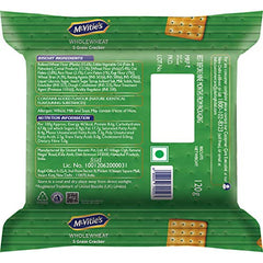 McVitie's Wholewheat 5 Grain Cracker Biscuits with Goodness of Oats, Ragi, Corn, Rice, 120g