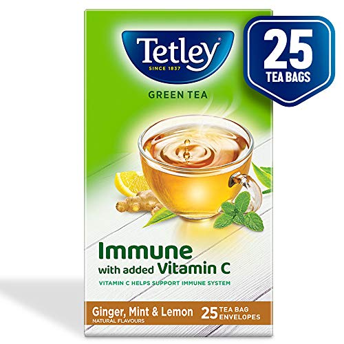 Tetley Green Tea Immune with Added Vitamin C, Ginger, Mint & Lemon, 25 Tea Bags