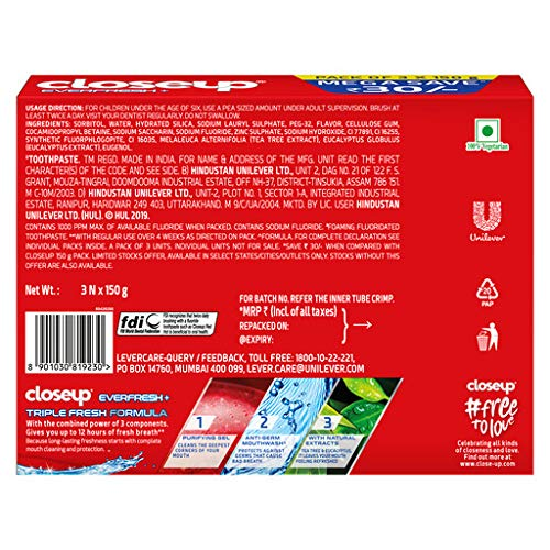 Close Up Toothpaste Triple fresh 450g (150g x 3)