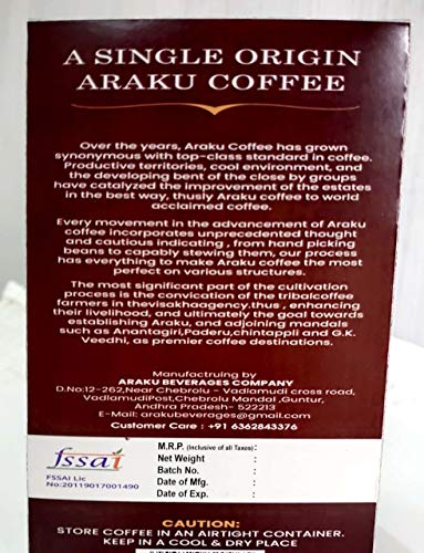 ARAKU Roasted Arabica Ground Coffee-(80:20 Arabica Powder)( 200gm)-ORAGNIC Arabica ARAKU Coffee