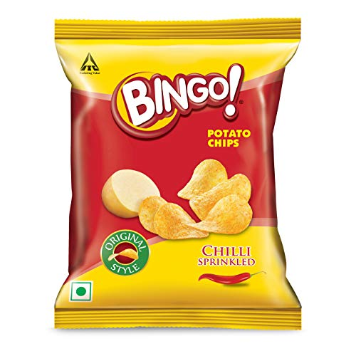 Bingo! Original Style Chilli Sprinkled, 100g, Flat Cut Spicy Potato Chips Packet Perfect for Snacking