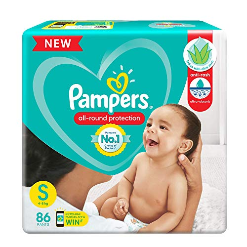 Pampers All round Protection Pants, Small size baby diapers (SM), 86 Count, Anti Rash diapers, Lotion with Aloe Vera