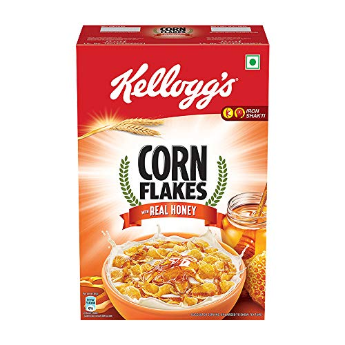 Kellogg's Corn Flakes with Real Honey | Breakfast Cereals | Low Fat | High in Vitamin C | High in Iron | Naturally Cholesterol Free | 300g Pack