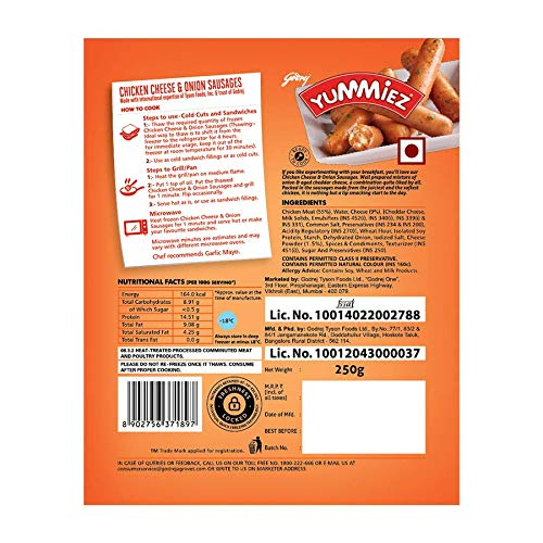 Yummiez Chicken Cheese and Onion Sausage Pouch, 250 g