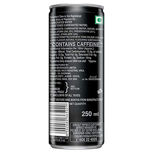 Mountain Dew Soft Drink, 250ml Can