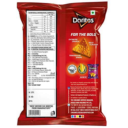 Doritos Tortilla Chips - Nacho Cheese, 187g (Party Pack)