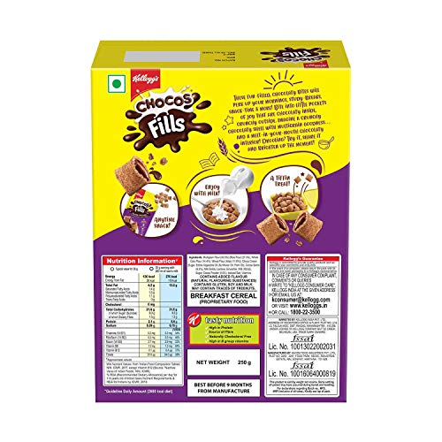 Kellogg's Chocos Fills | Double Chocolaty |Multigrain | High in Protein | 0% Maida | High in B Vitamins | Anytime Snack |250g