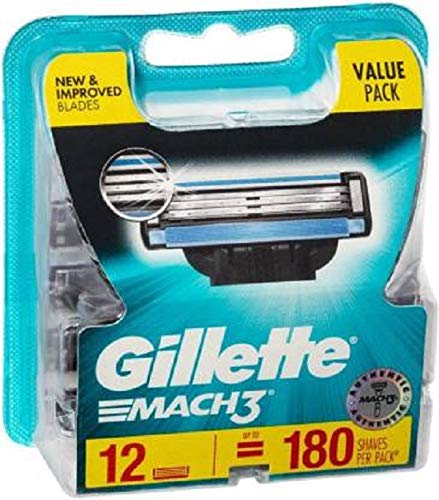 Gillette Mach 3 Manual  Shaving Razor Blades (Cartridge) 12s pack