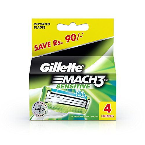 Gillette Mach3 Sensitive Blades - 4 Cartridges