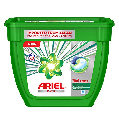 Ariel Matic 3in1 PODs Liquid Detergent Pack 32 Count for Both Front Load and Top Load Washing Machines