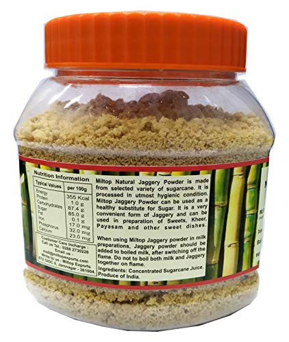 Miltop Natural Jaggery Powder, 500g (A Healthy Replacement of Sugar)
