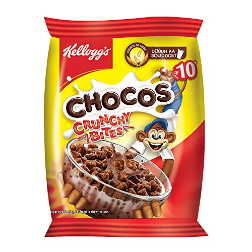Kellogg's Chocos Crunchy Bites, Source of Fibre, Source of Calcium, High in Protein, with 10 Essential Vitamins & Minerals, Breakfast Cereals, 26g Pack