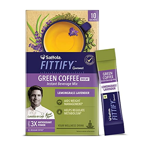Saffola FITTIFY Gourmet Saffola FITTIFY Gourmet Green Coffee Instant Beverage Mix for Weight Management – 20g (Lemongrass Lavender, 10 Sachets), 20 g