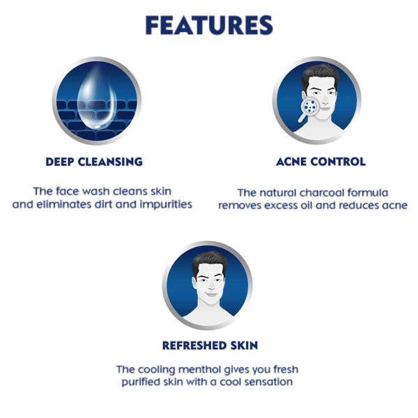 NIVEA Men Face Wash, All in 1 Charcoal, to Detoxify & Refresh Skin with 10x Vitamin C Effect, for All Skin Types, 100 g
