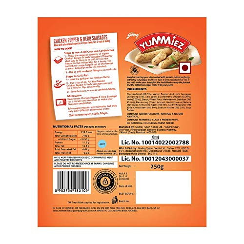 Yummiez Chicken Pepper and Herb Sausage Pouch, 250 g