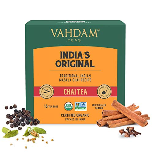 VAHDAM, Original Masala Chai Tea | 15 Pyramid Tea Bags | Black tea, Cardamom, Cinnamon, Cloves & Black Pepper | 100% Real & Whole Ingredients | Brew Hot, Iced or Chai Latte