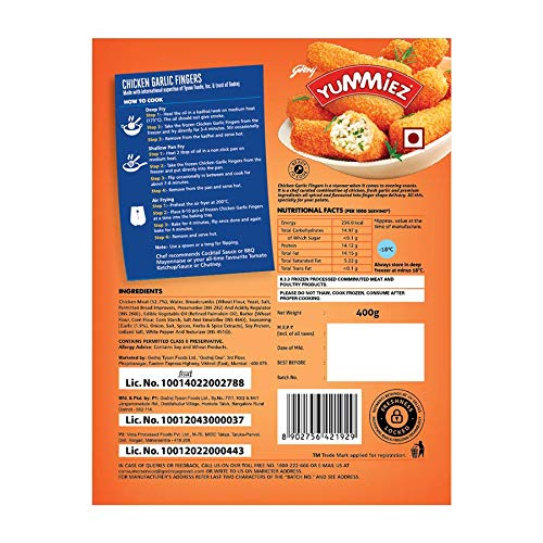 Yummiez Chicken Garlic Fingers Pouch, 400 g