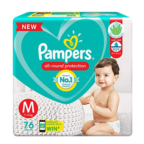 Pampers All round Protection Pants, Medium size baby diapers (MD), 76 Count, Anti Rash diapers, Lotion with Aloe Vera