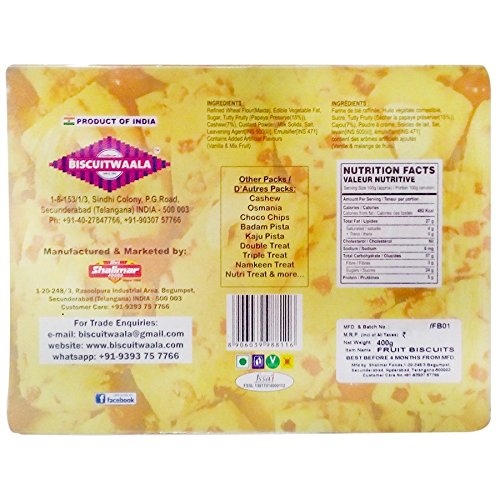 Biscuitwaala Fruit Biscuits, 400g Carton
