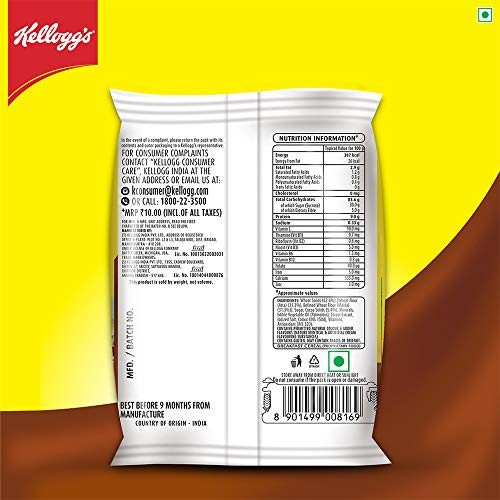 Kellogg's Chocos, with Protein & Fibre of 1 Roti* in each bowl**, High in Calcium & Protein, with 10 Essential Vitamins & Minerals, Breakfast Cereals, 26g Pack