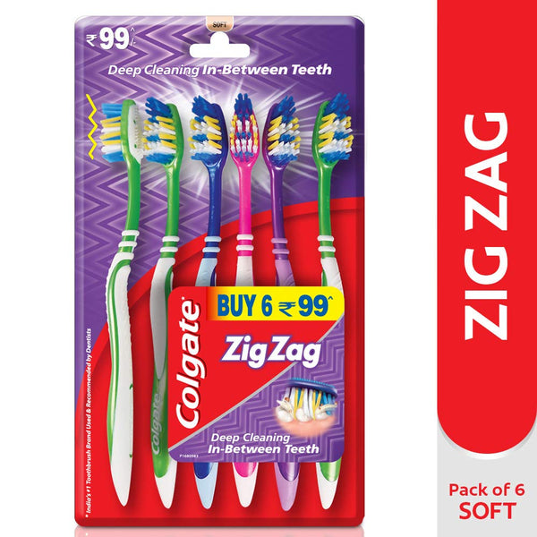 Colgate ZigZag Soft Bristle Toothbrush - 6 Pcs