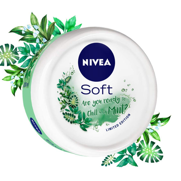 NIVEA Soft, Light Moisturising Cream, Chilled Mint, 100ml