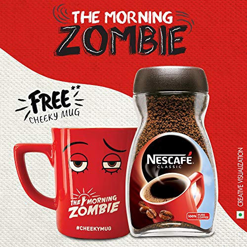 Nescafé Cheeky Mug Kit Pack - NESCAFÉ Classic Instant Coffee with Free Morning Zombie Cheeky Mug, 200 Gram