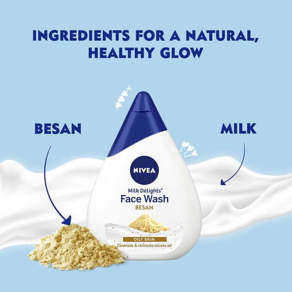 NIVEA Women Face Wash for Oily Skin, Milk Delights Besan, 50 ml