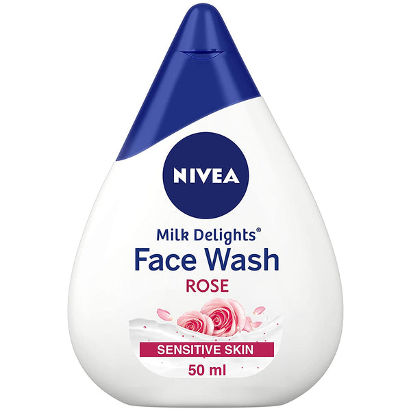 NIVEA Women Face Wash for Sensitive Skin, Milk Delights Rose, 50 ml
