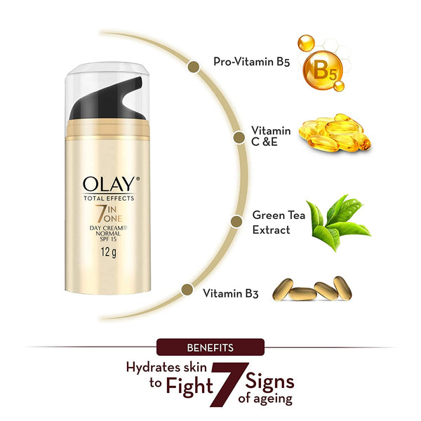 Olay Day Cream: Total Effects 7 in 1, Anti Ageing Mini Moisturiser (SPF 15), 12g