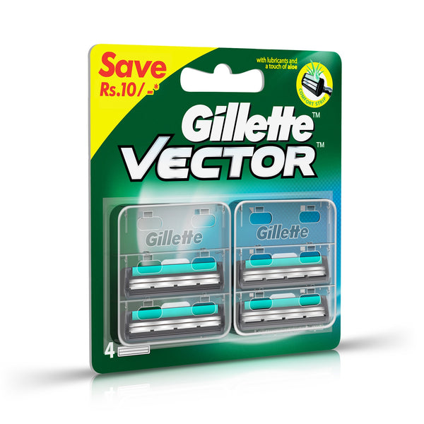 Gillette Vector Plus Manual Shaving Razor Blades (Cartridge) - 4s Pack