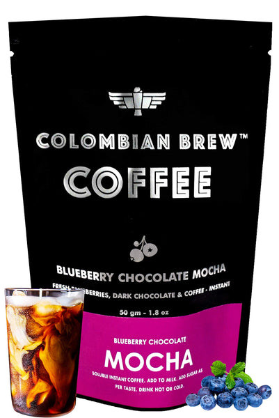 Colombian Brew Coffee Blueberry Chocolate Mocha Instant Coffee, Vegan, No Sugar - 50gm