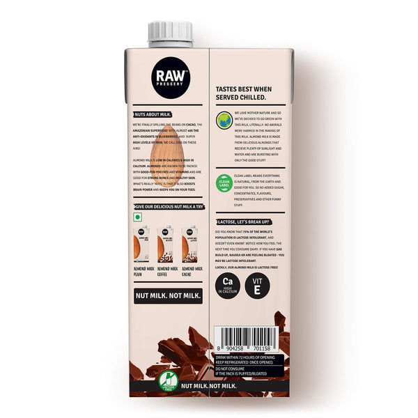 Raw Pressery 100% Natural Almond Milk - Cacao (1 Liter)