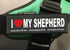 """I lOVE MY SHEPHERD"" Large / Small Harness Labels - Set of 2 Labels / patches"