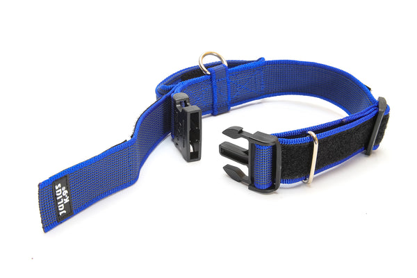 Dog Collar with Handle - Blue / Grey - Large (50mm / 1.9 in width) - JULIUSK9® CANADA