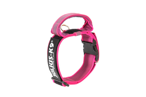 Dog Collar with Handle - Pink / Grey - Large (50mm / 1.9 in width) - JULIUSK9® CANADA
