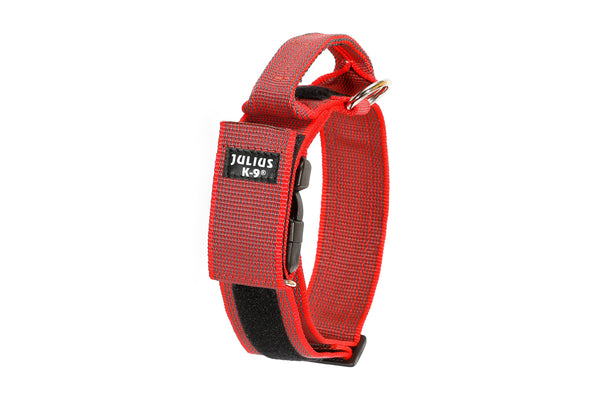 Dog Collar with Handle - Red / Grey - Large (50mm / 1.9 in width) - JULIUSK9® CANADA