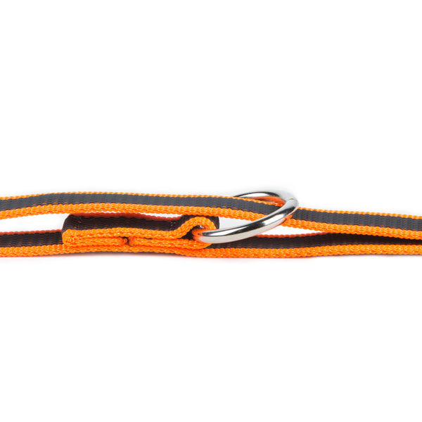 Super Grip Leash - Double Clasp - 2.2 Meters / 7.2 Ft  Orange / Grey - JULIUSK9® CANADA
