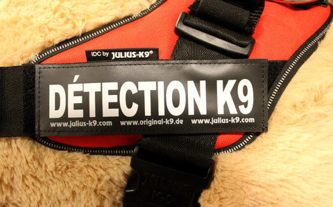 """Détection K9"" Large / Small Harness Labels - Set of 2 Labels / patches - JULIUSK9® CANADA"