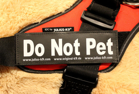 """Do Not Pet"" Large / Small Harness Labels - Set of 2 Labels / patches - JULIUSK9® CANADA"