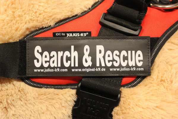 """Search and Rescue"" Large Harness Labels - Set of 2 Labels / patches - JULIUSK9® CANADA"