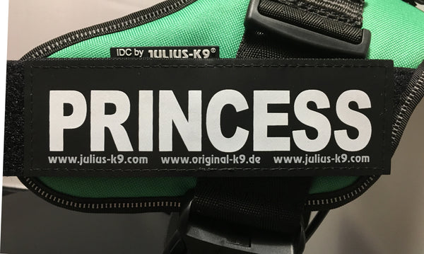 """Princess"" Large / Small Harness Labels - Set of 2 Labels / patches"