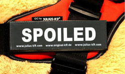 """SPOILED"" Large / Small Harness Labels - Set of 2 Labels / patches - JULIUSK9® CANADA"