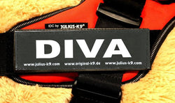 """DIVA"" Large / Small Harness Labels - Set of 2 Labels / patches - JULIUSK9® CANADA"