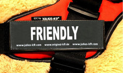 """Friendly"" Large Harness Labels - Set of 2 Labels / patches - JULIUSK9® CANADA"