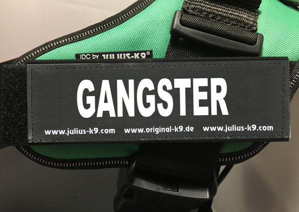 """GANGSTER"" Large / Small Harness Labels - Set of 2 Labels / patches"