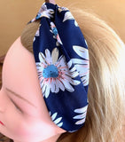 MARGOT navy blue hair band with flowers salad-dressing