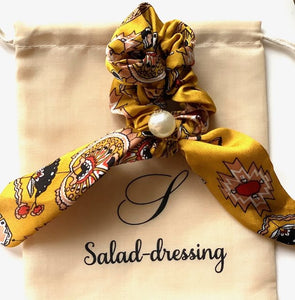 Scrunchie-scarf yellow satin floral pattern and white pearl LORA
