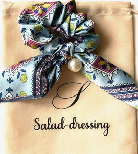 Scrunchie satin scarf adorned with a white pearl LUCIA